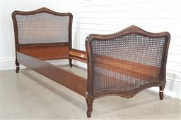 Sale 9174 - Lot 1309 - French single bed frame with rattan head and sides (h:97 x w:95 x d:190cm)
