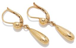 Sale 9209J - Lot 335 - A PAIR OF 18CT GOLD DROP EARRINGS; pendulous drops to half bead set continental fittings, length 31mm, wt. 2.71g.