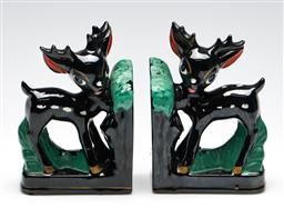 Sale 9253 - Lot 250 - A retro pair of kitsch ceramic deer themed bookends (H:16.5cm)