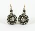 Sale 3701 - Lot 414 - A PAIR OF 15CT GOLD AND SILVER EARRINGS SET WITH CLUSTERS OF CUSHION CUT DIAMONDS;