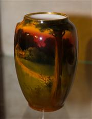 Sale 7962B - Lot 33 - Royal Doulton Vase Signed H Morrey handpainted with a cottage scene