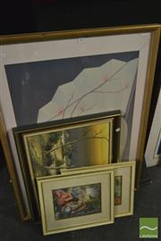 Sale 8214 - Lot 2072 - Collection of (3) Prints & (1) oil painting