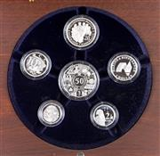 Sale 8299C - Lot 516 - ROYAL AUSTRALIAN MINT FINE SILVER PROOF 2003 YEAR SET; comprising $2, $1, 50, 20, 10, 5 cent fine silver coins, set no. 5621/6500 in...