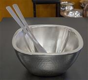 Sale 8310A - Lot 97 - Four hammered finish salad bowls and servers by Aulica, 26cm squared