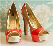 Sale 8448A - Lot 3 - Mimco 6inch peep toe platform heels Condition: as new Size 8