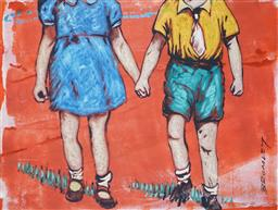 Sale 8732A - Lot 5060 - David Bromley (1960 - ) - Holding Hands 20.5 x 28cm (frame size: 31.5 x 37cm)