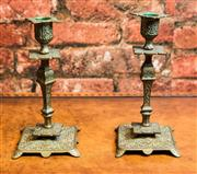 Sale 8577 - Lot 187 - A pair of decorative vintage brass candle holders, H 21 x W 14cm