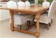 Sale 8550H - Lot 166 - A country kitchen pine table on turned and shaped legs, over stretcher base, H 76 x L 213 x W 107cm