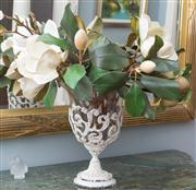 Sale 8575H - Lot 14 - A shabby chic vase in glass, cased in painted pierced metal H: 33cm