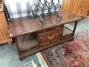 Sale 8593 - Lot 1086 - Oriental Open Sided Coffee Table with Drawers and Doors