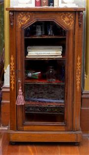 Sale 8649A - Lot 8 - A Victorian walnut and marquetry music cabinet, glass panelled door enclosing labelled shelves, H 90 x W 50 X D 35cm
