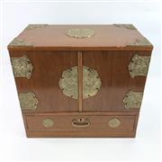 Sale 8699A - Lot 774 - Chinese Timber and Brass Mounted Jewellery Box with fitted interior, width 40cm