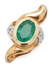 Sale 9046 - Lot 551 - AN 18CT GOLD EMERALD AND DIAMOND PENDANT; collet set with an oval cut emerald adjacent to 4 round cut diamonds, size 19 x 10mm, wt....