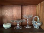 Sale 9070H - Lot 158 - A small collection of cut crystal table wares comprising bon bon dishes, Tazzas and candle holder etc