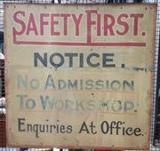 Sale 9076 - Lot 1012 - Vintage hand painted safety sign (h:92 x w:93cm)