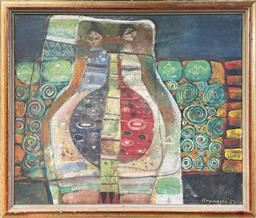 Sale 9106 - Lot 2031 - Bramasto Two Women in Abstract Landscape, 1987oil on canvas, 54 x 63cm, signed and dated lower right -