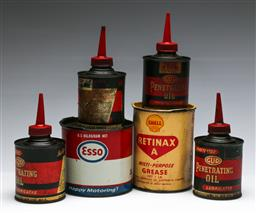 Sale 9168 - Lot 60 - Small collection of small oil cans inc Esso, Shell and GUD