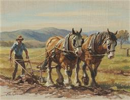 Sale 9189A - Lot 5024 - JOHN CORNWELL (1930 - ) 'Paul with Prince and Pansy, Plough the Paddock' oil on canvas laid on board 29 x 38.5 cm (frame: 54 x 64 x .