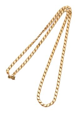 Sale 9209J - Lot 308 - AN 18CT GOLD FANCY LINK CHAIN; 3mm wide to a gravity hook clasp, length 50cm, wt. 8.33g.