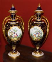 Sale 7962B - Lot 49 - Pair of Royal Crown Derby Cobalt Blue and Gilt handpainted vase with birds and rural scenes- signed Darlington