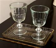 Sale 8107B - Lot 69 - An Art Deco hand cut crystal tray with a pair of large French goblets