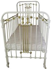 Sale 8258A - Lot 1 - Brass and steel child's cot with double side release rails, RRP $1250, L142 x W79 x H135cm