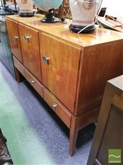 Sale 8440 - Lot 1078 - 1950s Inlaid Sideboard Cocktail Cabinet, Label to Back (key & knob in office)