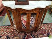Sale 8485 - Lot 1032 - Victorian Burr Walnut Credenza, with white marble top (broken), with carved brackets & four mirror panel doors (Key In Office)