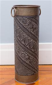 Sale 8575H - Lot 15 - A brass umbrella stand embossed with foliate decoration and ring handles H: 60cm
