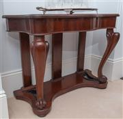 Sale 8595A - Lot 25 - A Victorian mahogany side table with serpentine shaped top on cabriole legs, H 80 x W 107 x D 47cm