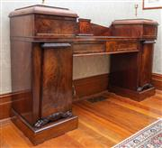 Sale 8649A - Lot 9 - A Regency mahogany double pedestal sideboard, centre front two drawers flanked by two further drawers and two panel doors terminatin...