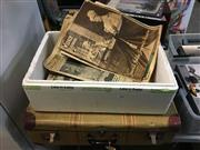Sale 8659 - Lot 2182 - Suitcase & Box of Vintage Newspapers incl Royalty