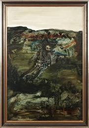 Sale 8771 - Lot 2028 - Neville Pilven - Lone Man and Landscape 90 x 60cm