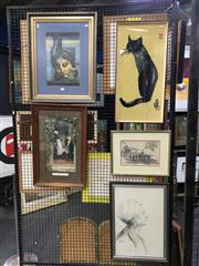Sale 8776 - Lot 2027 - Group of (5) Assorted Artworks incl. original works on paper, hand-coloured antique engraving, needlepoint -