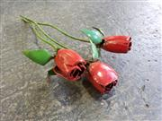 Sale 8996 - Lot 1017 - Set Of Three Hand Made Metal Roses (H: 35 x W: 8cm)