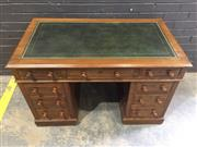 Sale 9031 - Lot 1087 - Small Victorian Double Pedestal Desk, with tooled green leather top & fitted with nine drawers (h:76 x w:121 x d:67cm)