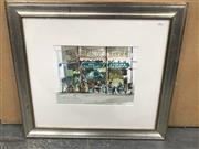 Sale 9036 - Lot 2056 - Helen Goldsmith Windsor Cafe, watercolour, frame: 57 x 75 cm, signed -