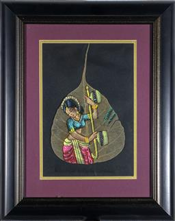 Sale 9137A - Lot 5040 - Artist Unknown - Playing the Veena 22 x 15 cm (frame: 37 x 30 x 2 cm)