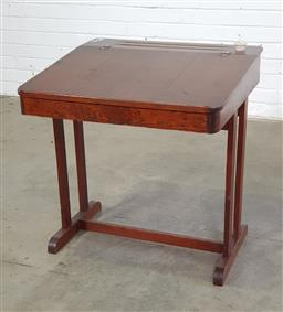 Sale 9151 - Lot 1305 - Vintage timber school desk with inkwell (h70 x w67 x d64cm)