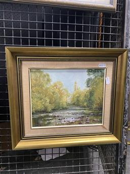 Sale 9172 - Lot 2092 - John Downton (1939 -) , Le Trobe Shallows 1982, oil on canvas on board, frame 19 x 24, signed and dated lower left