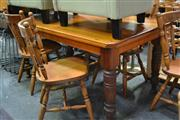 Sale 8054 - Lot 1051 - Timber Dining Setting incl. Table On Turned Legs And Six Chairs