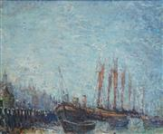 Sale 8467 - Lot 546 - Vic OConnor (1918 - 2010) - Thames Barges - Low Tide - Maldon Essex, Early Morning, 1976 73 x 89cm