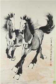 Sale 8586 - Lot 174 - Large Chinese Scroll Depicting Horses