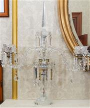 Sale 8649A - Lot 26 - A Baccarat style three branch eight candelabrum with prismatic drops, height 77cm