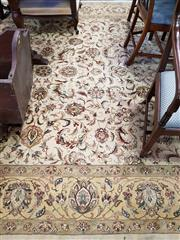 Sale 8792 - Lot 1062 - Indo-Persian Wool Carpet, with floral arabesques in cream tones (360 x 270cm)