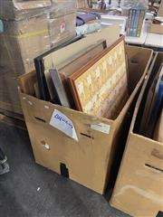 Sale 8981 - Lot 2061 - Box Of Assorted Painting, Prints Inc Florets Still Life Inc Early Schweppes Reproduction Advertisement & Indonesian Story Board