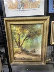 Sale 9016 - Lot 2029 - Filipino School Two Figures by the Riverbank 1965 80 x 63cm (frame) signed lower left
