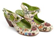 Sale 9071F - Lot 41 - A PAIR OF NOT RATED SLING BACK BLOCK HEELS, with flroal prints  and grass green inside, size 6