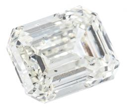 Sale 9124 - Lot 433 - AN UNSET 1CT EMERALD CUT DIAMOND; with GIA report no. 1358398438 stating K/ SI1, fluorescence medium blue, size 6.38 x 4.79 x 3.37mm.