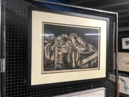 Sale 9176 - Lot 2023 - Hym Fain Life Class woodcut ed. AP 69 x 86 (frame) signed lower right -